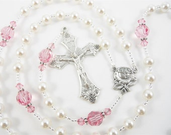 Quinceanera Rosary in White and Pink Swarovski Crystal - Personalized Rosary - Quinceanera Gift