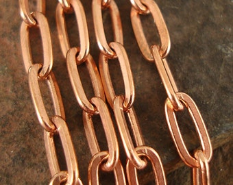 Copper Flat Drawn Cable Chain, Elongated Links, Plated Copper Chain, For Heavy Pendants, Soldered Links, 4mm x 8mm - Choose Length