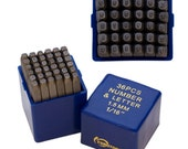 """Metal Stamp Set-Metal Stamping Kit in """"Block"""" font- Letters and Number Set 1/16th (1.5 mm) Size-by Metal Supply Chick-36 Piece"""