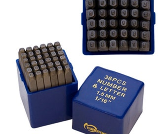 "Metal Stamp Set-Metal Stamping Kit in ""Block"" font- Letters and Number Set 1/16th (1.5 mm) Size-by Metal Supply Chick-36 Piece"
