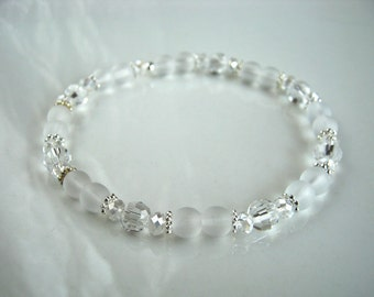 Clear Crystal and White Matte Glass Stretch Bracelet White Stretch Bracelet Looks Like Sea Glass