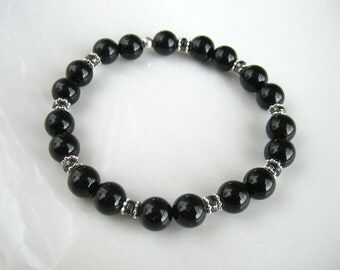 Black Agate Stretch Bracelet Black Stacking Bracelet