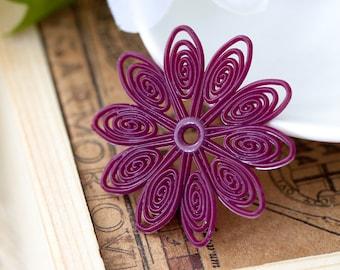 Vintage Flexible Plastic Deep Plum Purple Filigree Swirl Lacy Flower Beads with Center Hole