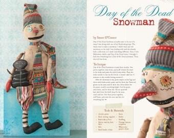 NEW PRIMS Autumn 2015 Handcrafted Folk Art Mixed Media Art Magazine Primitive Whimsical Pumpkin Snowman Holiday Gift Ideas Tips Hobby SVF