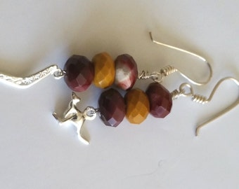 Australian Outback Modern Tribal Earrings Natural Australian Mookaite Jasper Stone Silver Kangaroo and Boomerang Earrings
