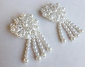 Cute  beaded and   embroidered flower  applique   white color with back pin   2  pieces listing