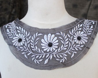 Cute   embroidered  flower  applique black and  white color