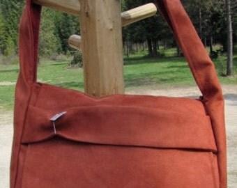 FAUX SUEDE MESSENGER bag
