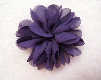 2.5 Inch Chiffon Flower Dark Purple