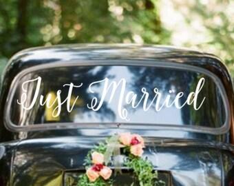Just Married Wedding Getaway Car Sign Vinyl Wall Decal Sticker