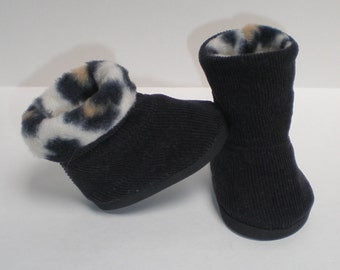 BLACK & LEOPARD CORDUROY Boots 18 inch doll clothes