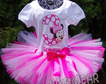 Custom Birthday Baby Minnie Mouse Face Shirt + Tutu Outfit In Pinks and white (any age)