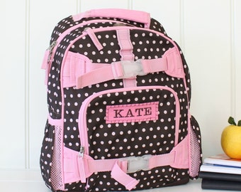 Small Backpack With Monogram  (Small Size) -- Brown/Pink Dot