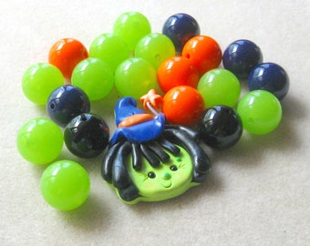 Chunky Beads, Bubble Gum Beads, Halloween Necklace Kit, Bead Kit, Resin Bead, Witch Pendant, Polymer Clay, Childrens Necklace Kit, Bubblegum