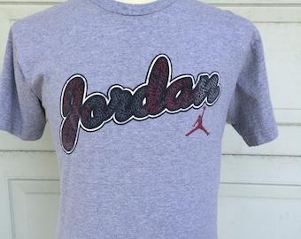 Air Jordan Logo Gray Tshirt 90s Michael Jordan NBA Basketball Brand Tee T Shirt Cotton Men Women Small Medium