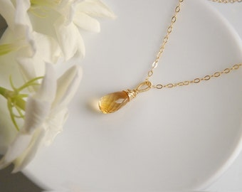 Citrine necklace, citrine faceted drop pendant necklace, 14K gold filled chain