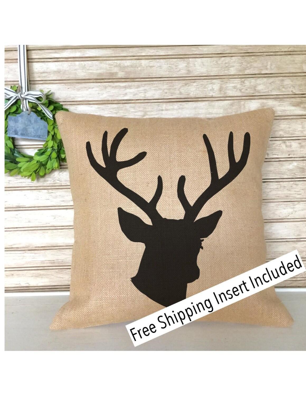 Rustic Home Decor Deer Head With Antlers Burlap Pillow