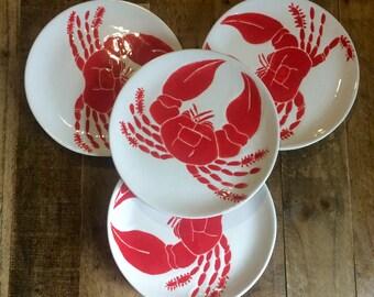 Dinnerware set of 4, nautical red crab serving plates, dinner, desert, salad dishes