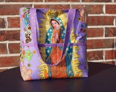 Small Tote in Our Lady of Guadalupe Print: Also Comes in Green
