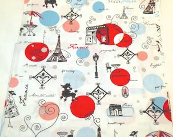 Cotton Fabric with a Parisian Theme; Paris Cafe