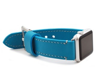 Personalized Apple Watch Band Strap in Vegetable Tanned SKY BLUE Leather