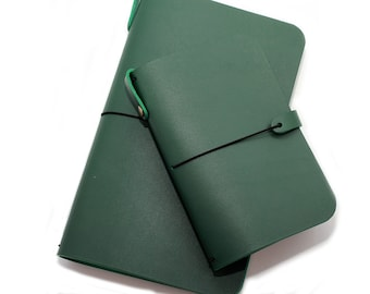 LEATHER COVER for Midori - Field Notes - Cahiers in Forest Green