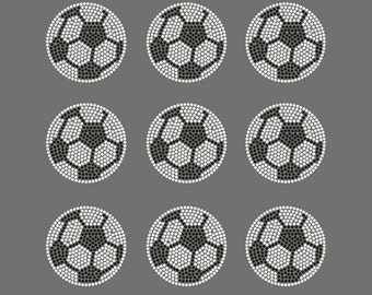 Mini Soccer Balls Rhinestone Hot Fix Motif Iron On Transfer Lead Free for Tshirt Bag Design, Sport Event Party - size 2.4""