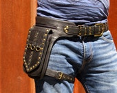 Leather Leg Holster Utility Belt Thigh Bag Steampunk Unisex Festival Hip Belt Bag with Pockets in Black HB31d  *Free Shipping*