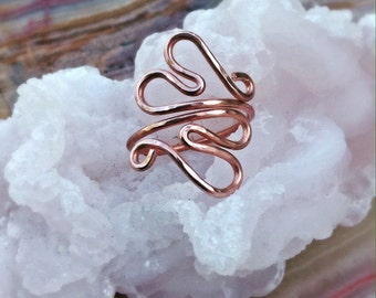 Copper Ring- Double Heart Ring - Hammered Heart Ring - Adjustable Copper Ring - Copper Heart Ring