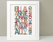Gift for Grandparents, Family Name Wall Art, Gift for Grandmother, Family Name Print, Gift for Grandfather, 40th Anniversary Gift
