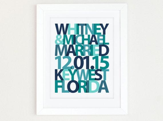 Wedding date print, Wedding gift for Couple, Personalized Wedding Gift, Beach Wedding Gift, Wedding date art, anniversary date, Teal Wedding