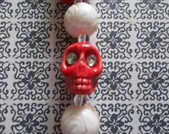 15X18mm Red Ceramic Skull Beads with Crystal Eyes with Coordinating 14mm Pink & White Round Beads - Qty 4 Skulls and 3 Round Beads