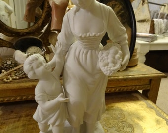 Vintage Shabby Cottage Chic Porcelain Lady and Child Statue