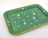 Large Green Retro Floral Tray