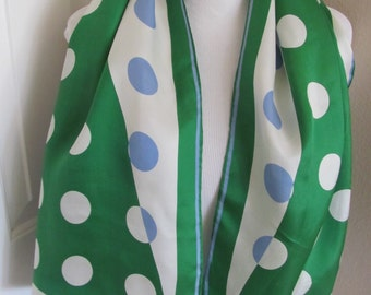 "Vera Neumann Green White Acetate Scarf - 14"" x 44"" Long"