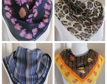"""Assorted Lot of 4 Small Square Ladies Fashion Scarves 20"""" Inch 50cm (lot 3)"""