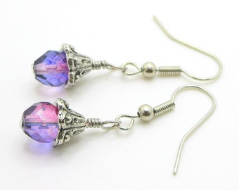 Flower bud earrings with pink and purple glass bead with french hook earrings, dangle earrings