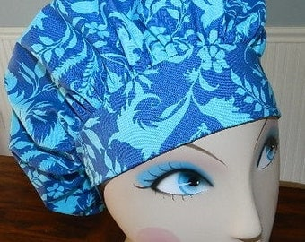 Blue Flowers on Blue  Banded Bouffant Surgical Cap