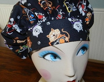 X Ray Cats  Banded Bouffant Surgical Cap