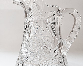 Heavy American Brilliant Cut Glass Pitcher Crystal Water Pitcher Collectible