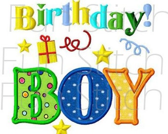 birthday boy applique machine embroidery design