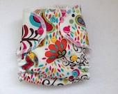Newborn Hybrid Fitted Diaper with Organic Cotton Velour Inner - Peacocks