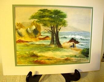 Art~Early California~ Watercolor~Carmel~ Land/seascape~ca 1900-1920~Plein Air Era