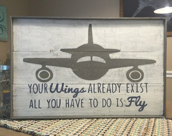 Airplane wood sign with quote