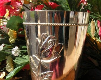 Silver Vase with Embossed Rose