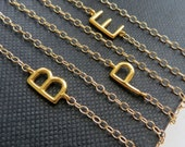 Sideway initial necklace, Personalized jewelry, gold letter charm, celebrity style
