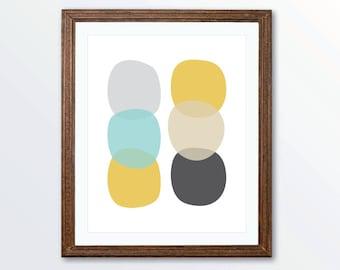 Pebbles Art Print - Modern Home Decor - Geometric Wall Art - Custom Colors - Yellow Blue Gray - Aldari Art