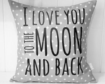 I love you to the moon and back Pillow Cover, 18x18, grey cross print