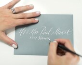 Hand Written Envelope Calligraphy for Wedding - Event - Save the Dates -  Scripted Font White Ink Kraft Envelopes ON SALE