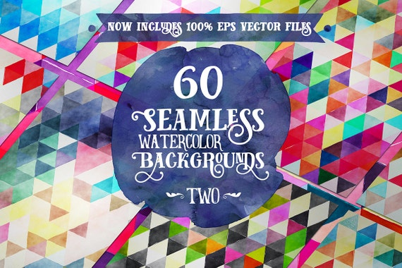 Digital paper Seamless Backgrounds - 60 Watercolor Triangles SET 2 - Now with EPS Vector Files included